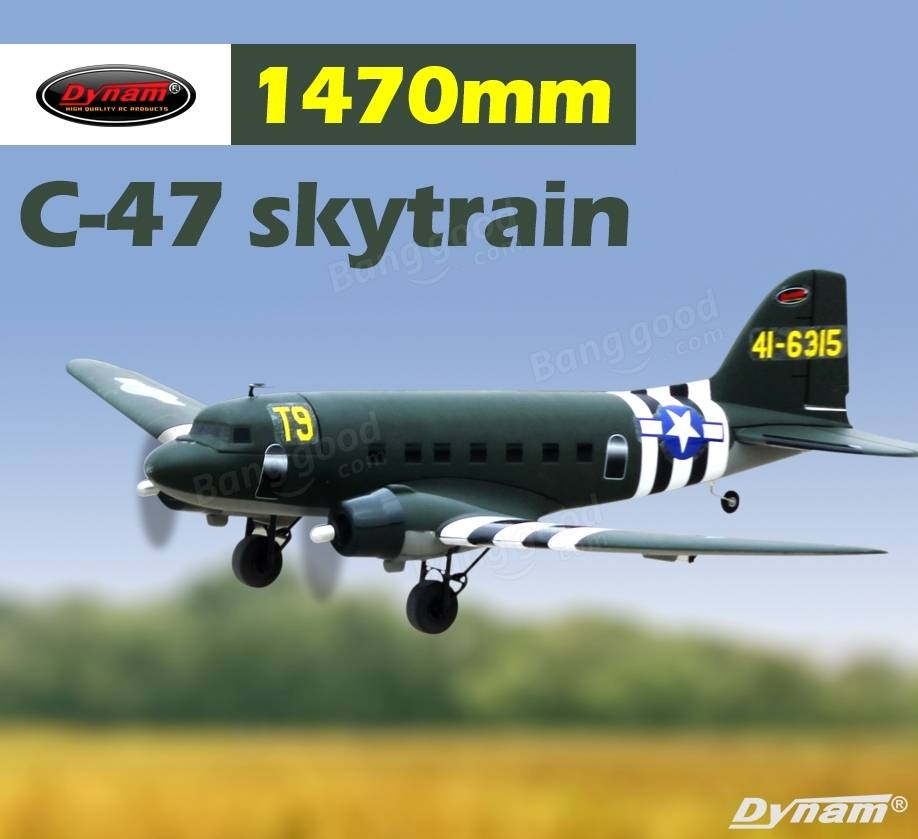 Dynam C-47 Skytrain Green 1470mm Wingspan EPO Scale RC Airplane PNP DY8931