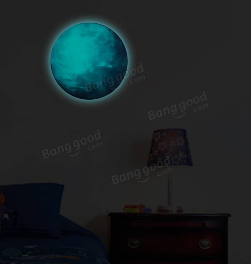 30cm Earth Globe Moon Wall Sticker Removable Glow In The Dark Luminous  Stickers Home Decor Part 87