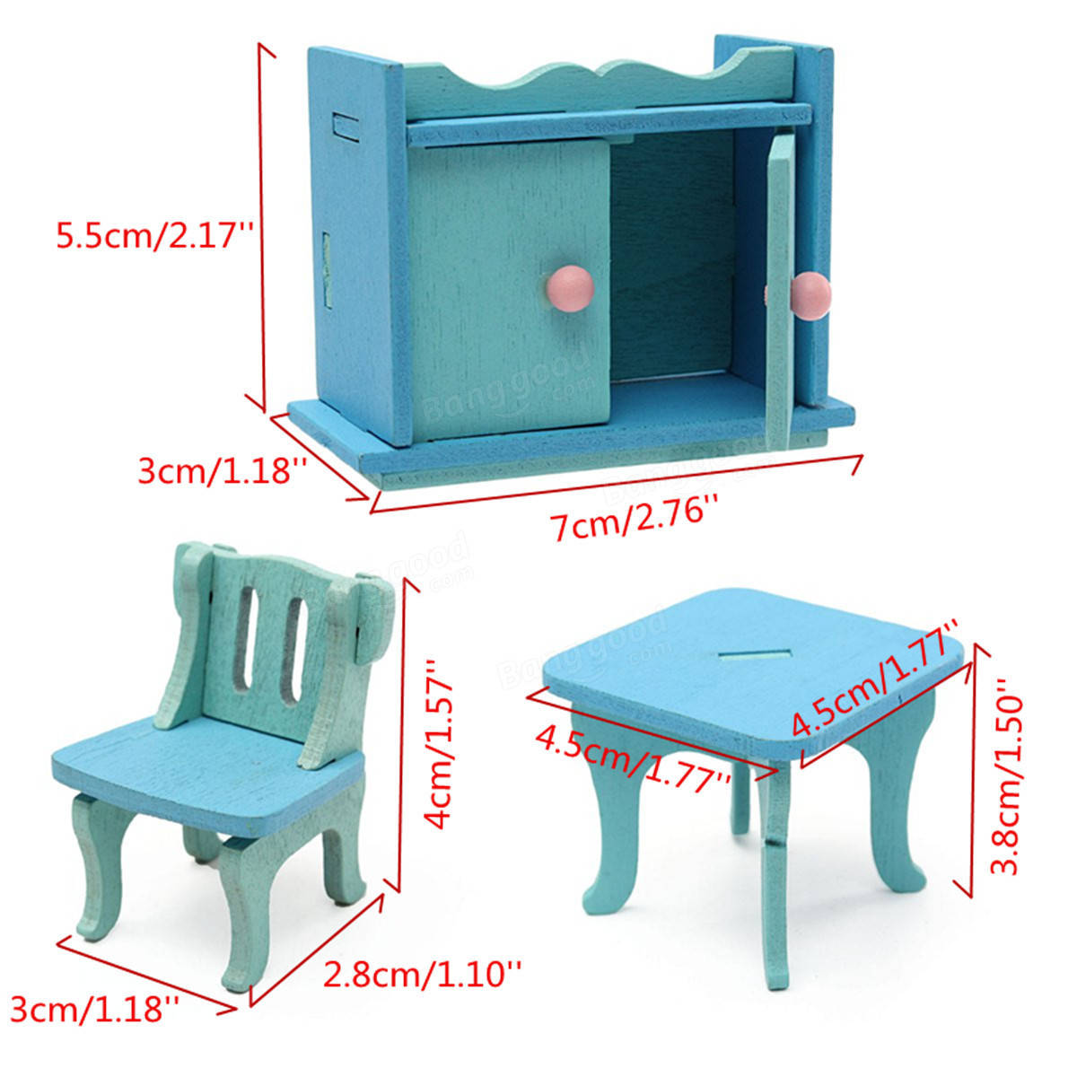Wooden dollhouse step foot stool wood footstool stepstool furniture - Wooden Dollhouse Furniture Doll House Miniature Dinning Room Set Kids Role Play Toy Kit