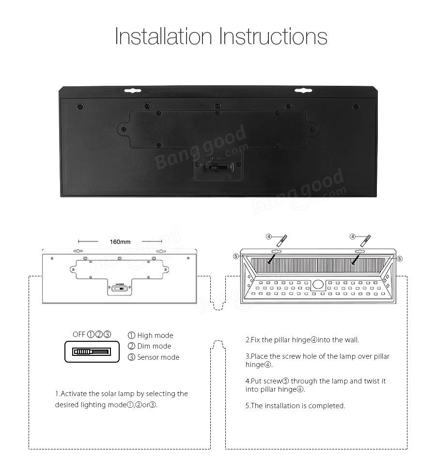 Arilux Alsl10 Solar Power 6w 54 Led Pir Sensor Light Outdoor Wiring Instructions Al Sl10 Waterproof Wide