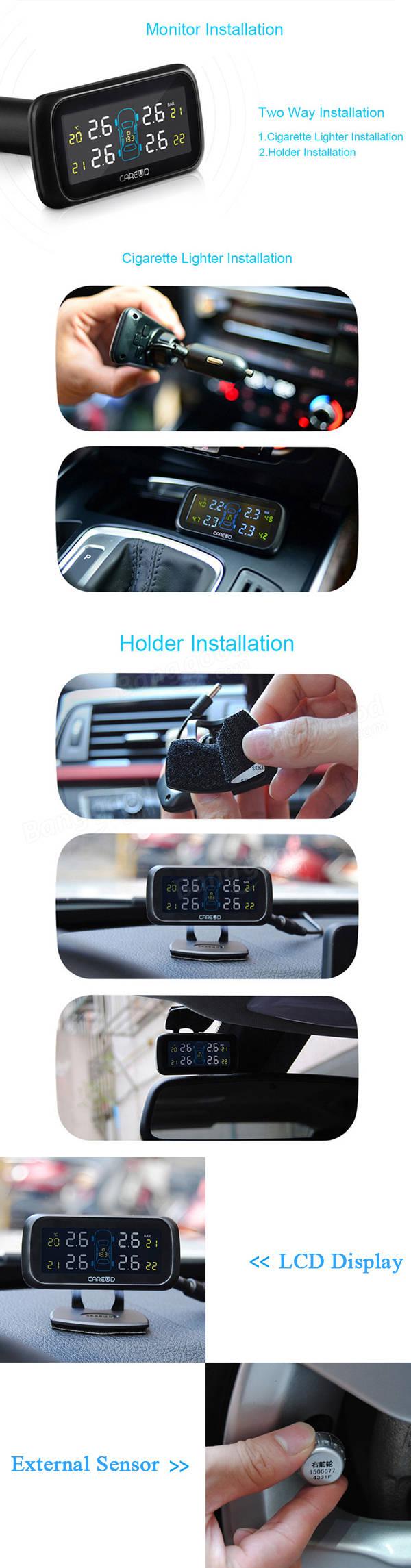 tpms de voiture 4 capteurs externes syst me de surveillance de pression des pneus careud de u903. Black Bedroom Furniture Sets. Home Design Ideas