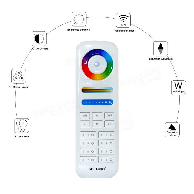 Milight 2.4G 8-Zone Area RGB+CCT RF Wireless Smart Touch Remote ...