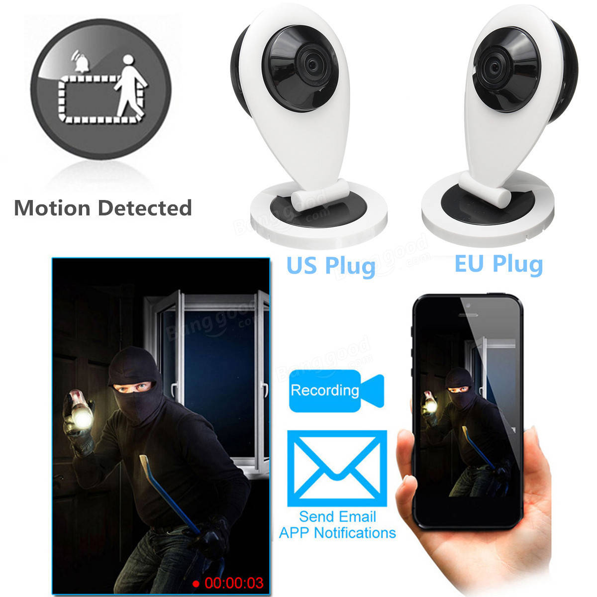 1080P HD IP Security Camera WiFi 360° Panoramic IR Night Vision 180° Wide Angle