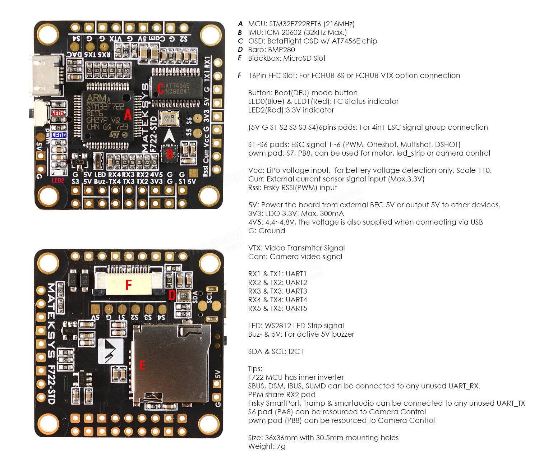 Matek Systems F722-STD STM32F722 Flight Controller Built-in
