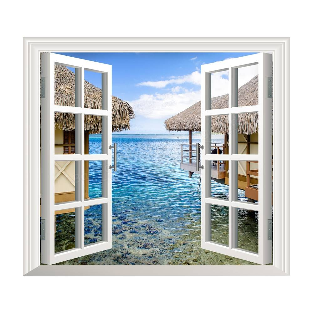 3d artificial window view 3d wall decals sea view room for Decoration fenetre aluminium