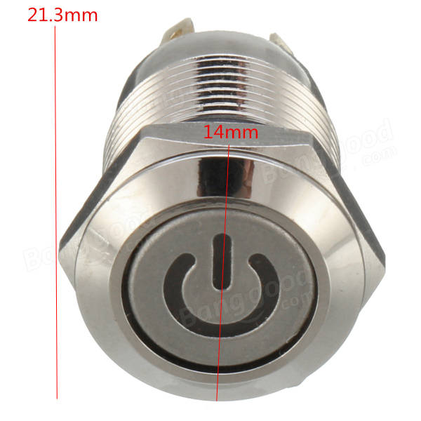 12V 4 Pin Led Metal Push Button Switch Momentary Power Switch Waterproof