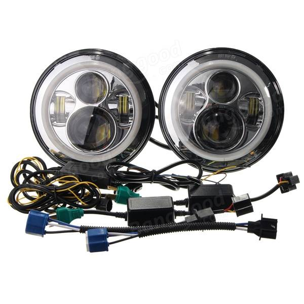 2pcs 7inch H4 H13 40w Led Chrome Headlight Halo Angel Eyes