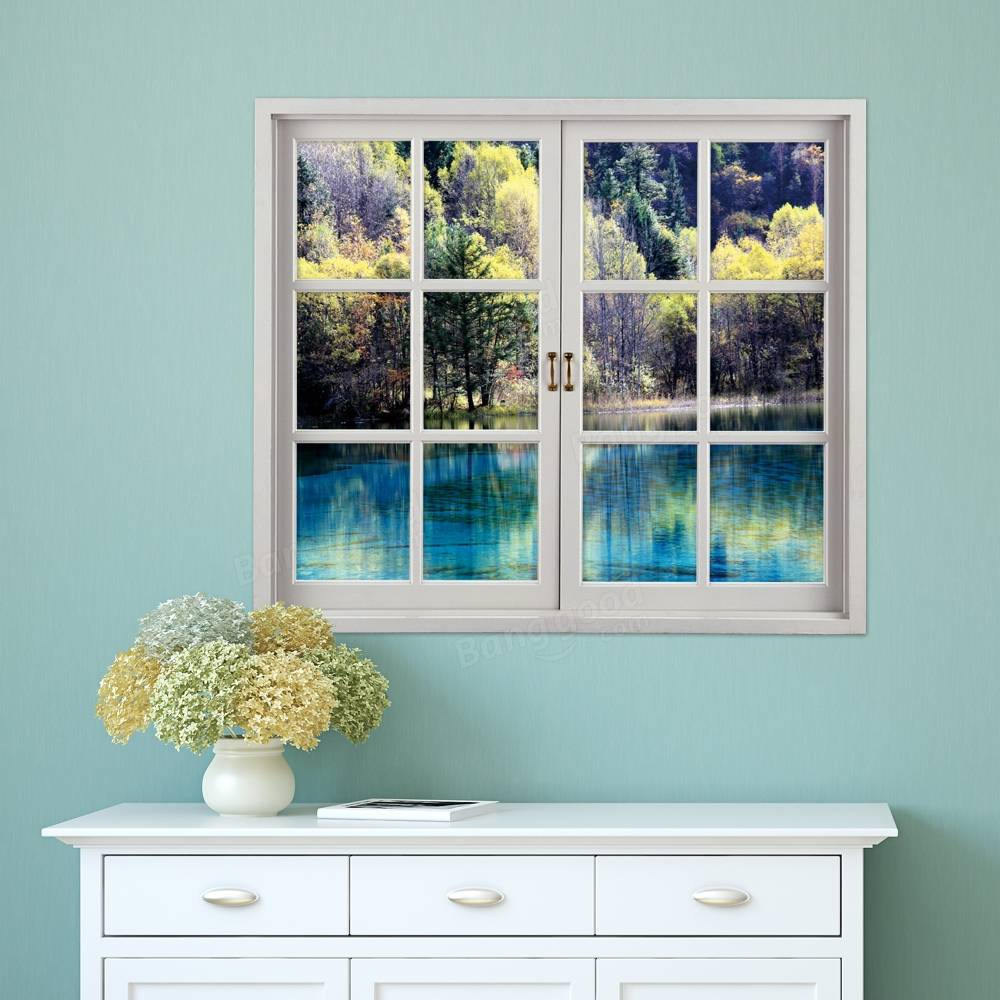 green lake pag d artificial window wall decals landscape room  - green lake pag d artificial window wall decals landscape room stickershome wall decor gift