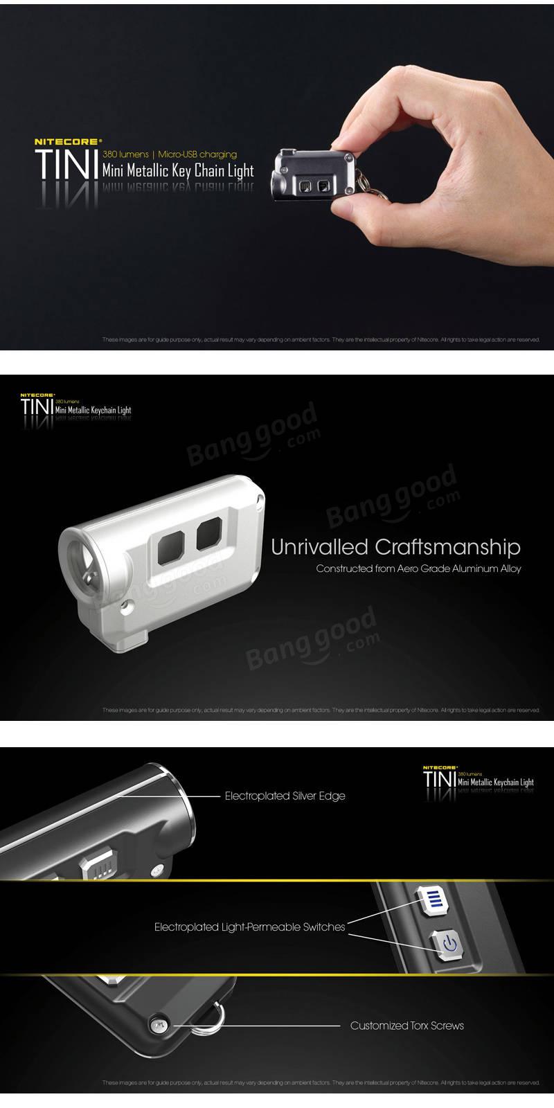 Nitecore TINI XP-G2 S3 380LM 4Modes USB Rechargeable Mini Metallic Keychain Light