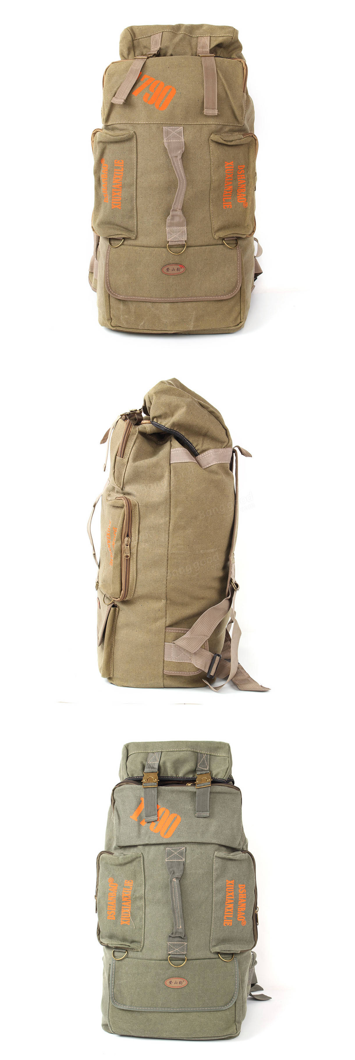80L Camping Hiking Canvas Backpack Mountaineering Travel Rucksack ...