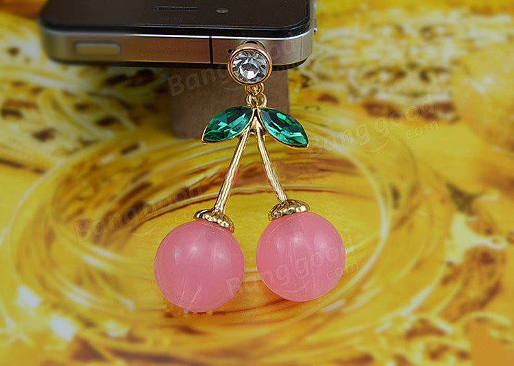 Romantic Cherry Rhinestones Mobile Dust Plug Moblie Chain 3.5mm For iPhone Samsung Xiaomi