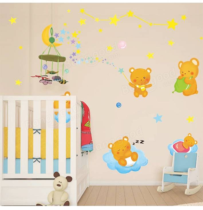 Kids Bedroom Background kids bedroom background decoration bear moon lovely kids wall