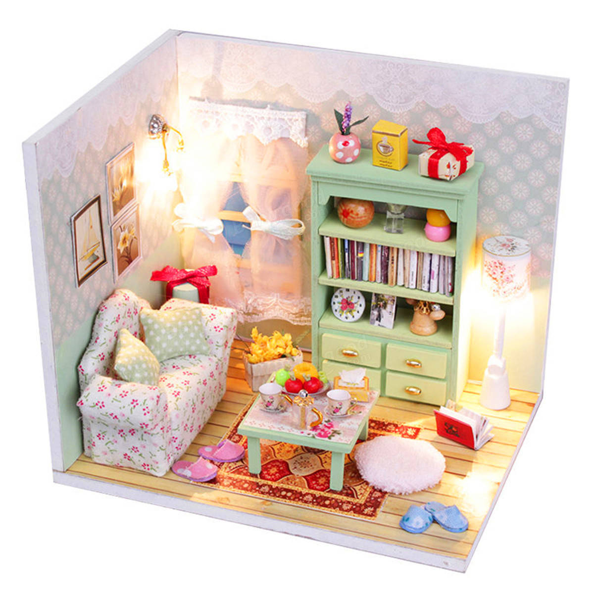 Diy Furniture Room Mini Box Dollhouse Doll House Miniature: Hoomeda DIY Dream House Wood Dollhouse Miniature With LED