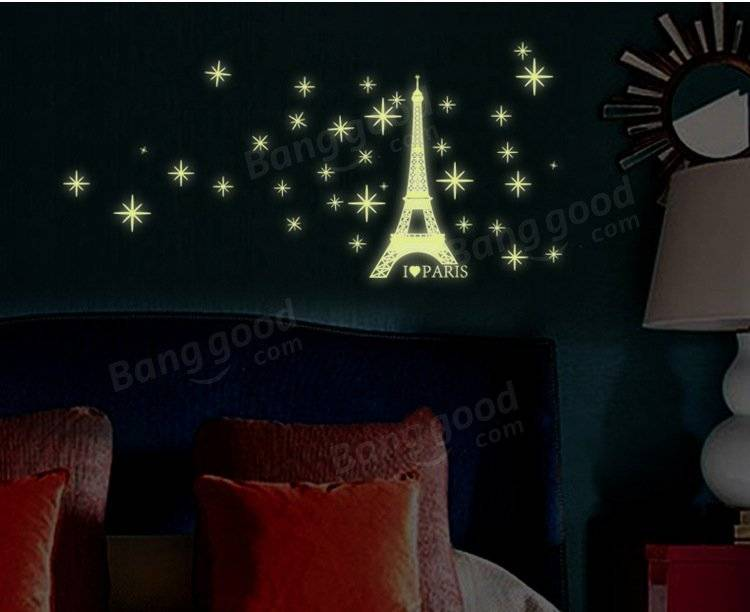 Luminous Eiffel Tower Wall Stickers Glow In Darkness Home Room