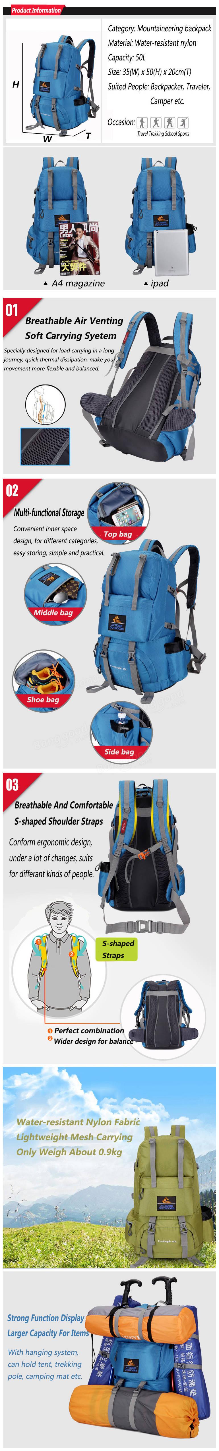 50l outdoor climbing backpack nylon camping hiking rucksack