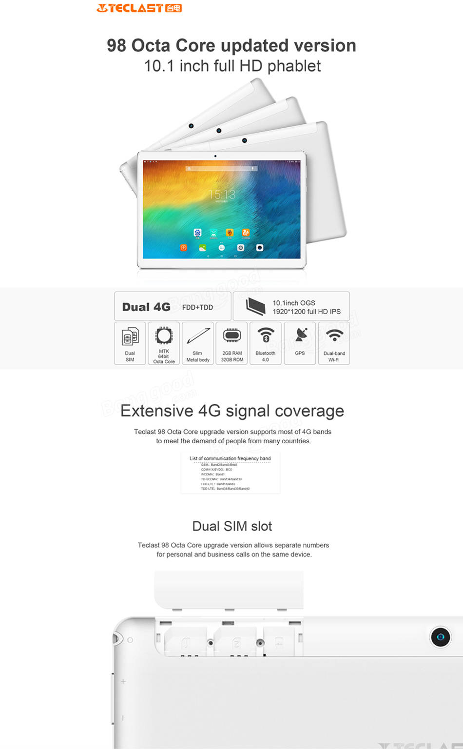 New Version Teclast 98 4G 32G MediaTeK MT6753 Octa Core 10.1 Inch Android 6.0 Tablet PC