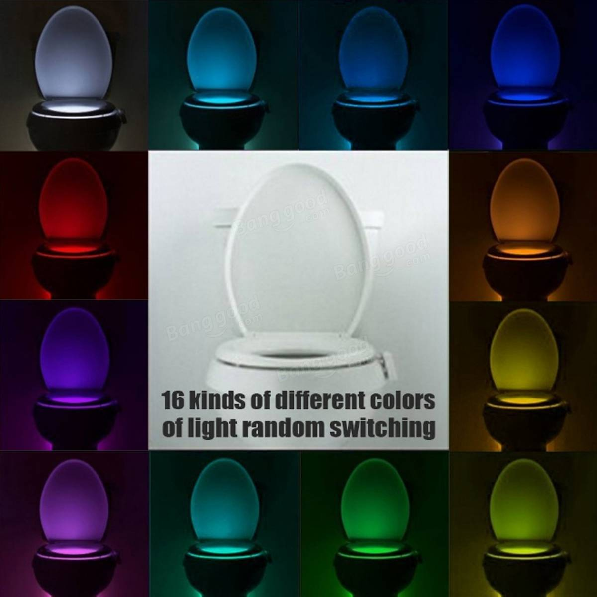 Bathroom Night Light 16 color motion activated led toilet sensor night light bowl