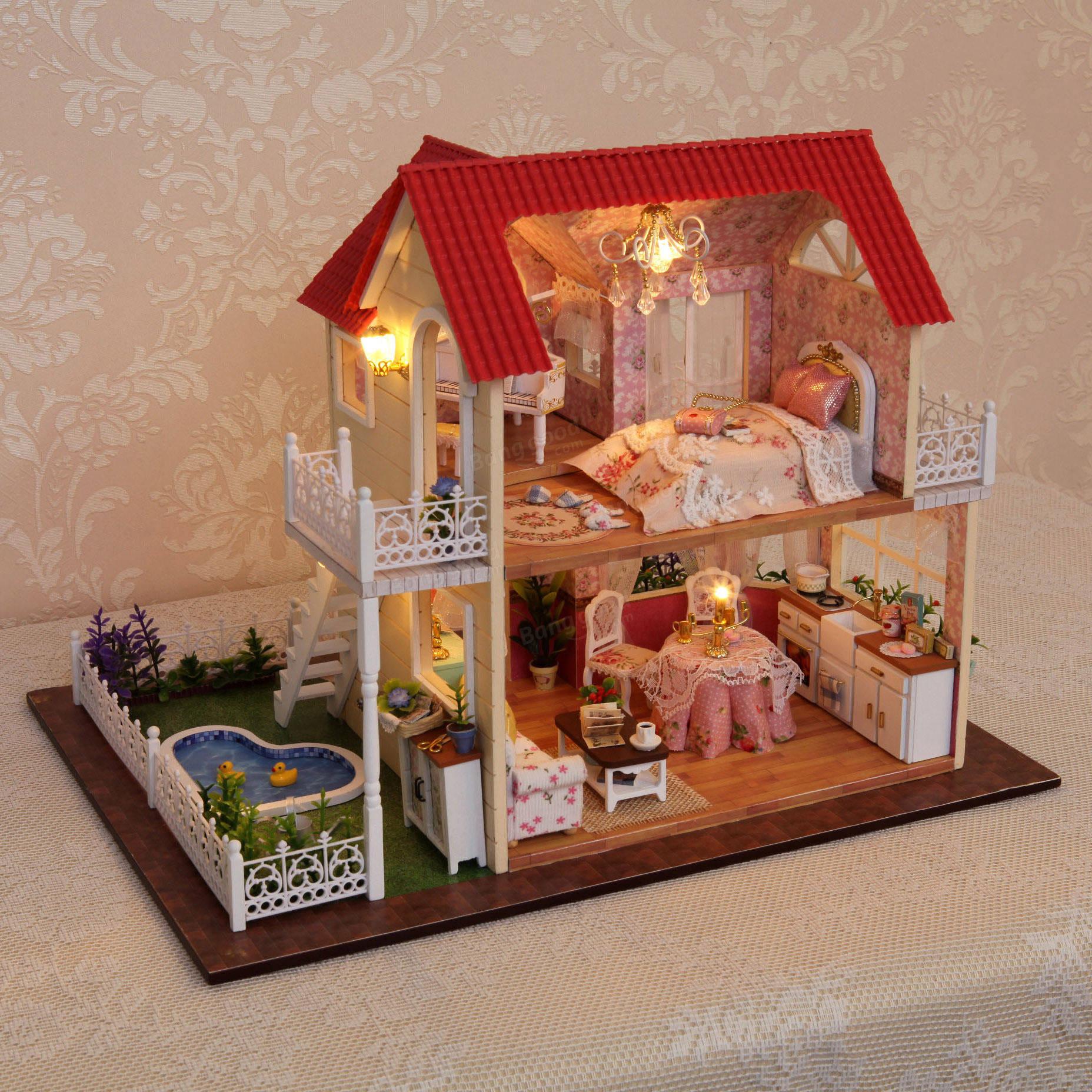 Cuteroom diy wooden dollhouse princess room handmade for Handmade decoration