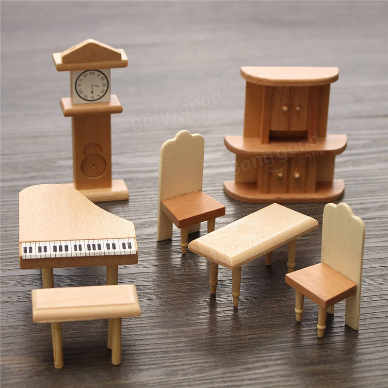 New 29 Pcs 1 24 Scale Dollhouse Miniature Unpainted Wooden Furniture Model Suite Sale