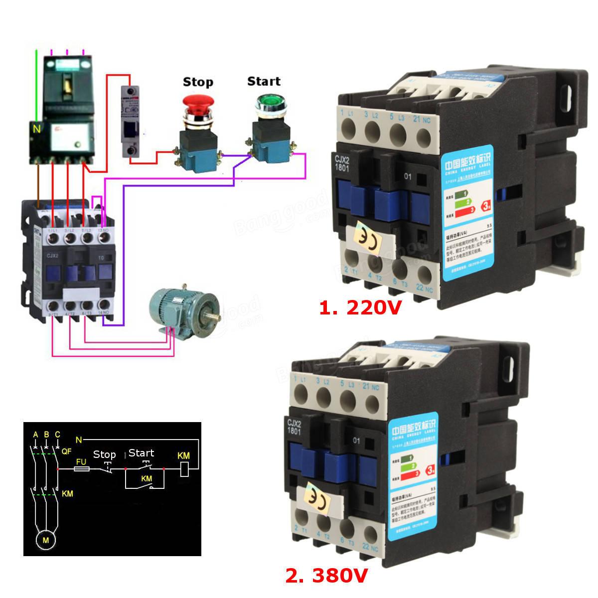 CJX AC VV A Contactor Motor Starter Relay  POLE - Relay coil voltage 220v