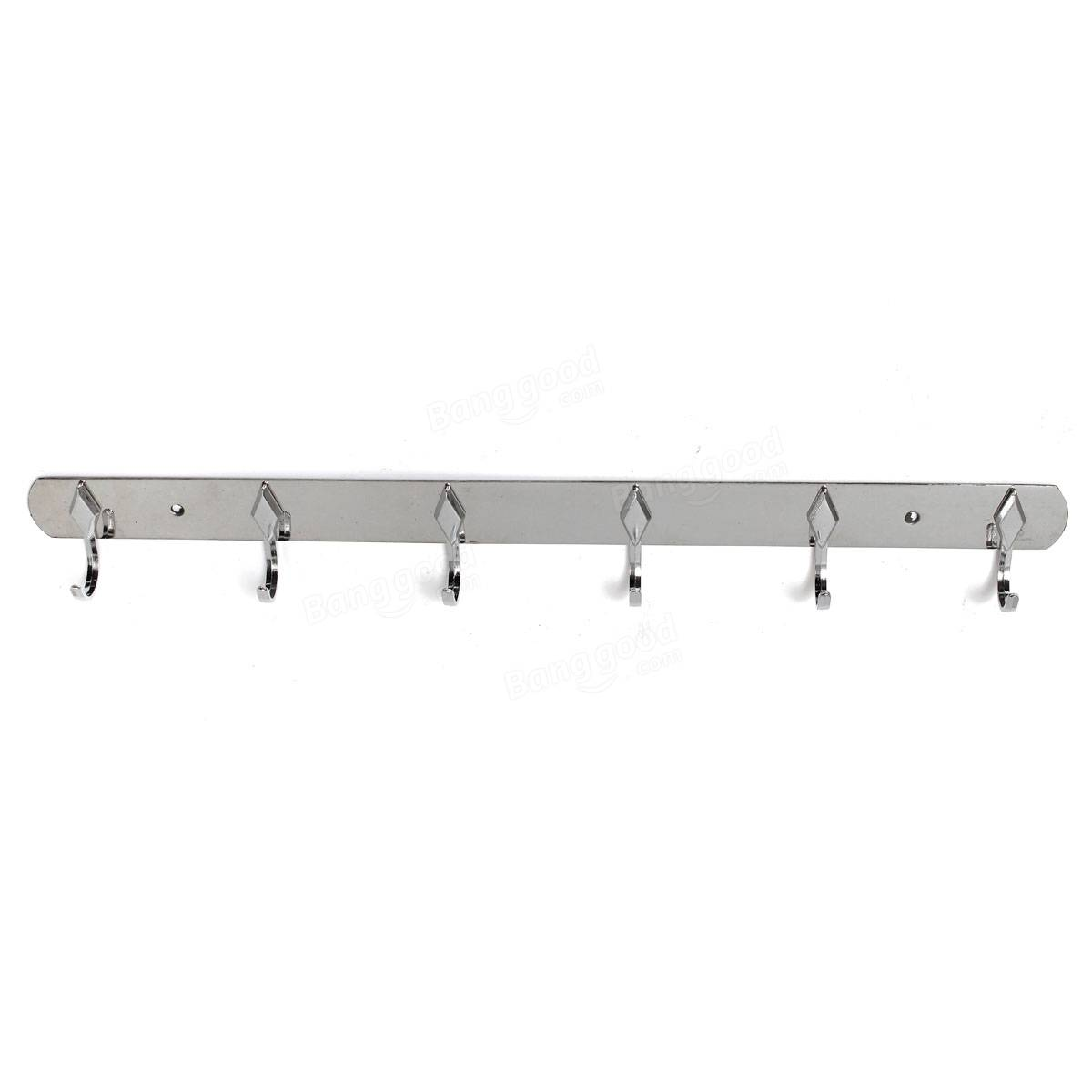 3/4/5/6/8 Hooks Stainless Steel Hanger Hook Wall Door