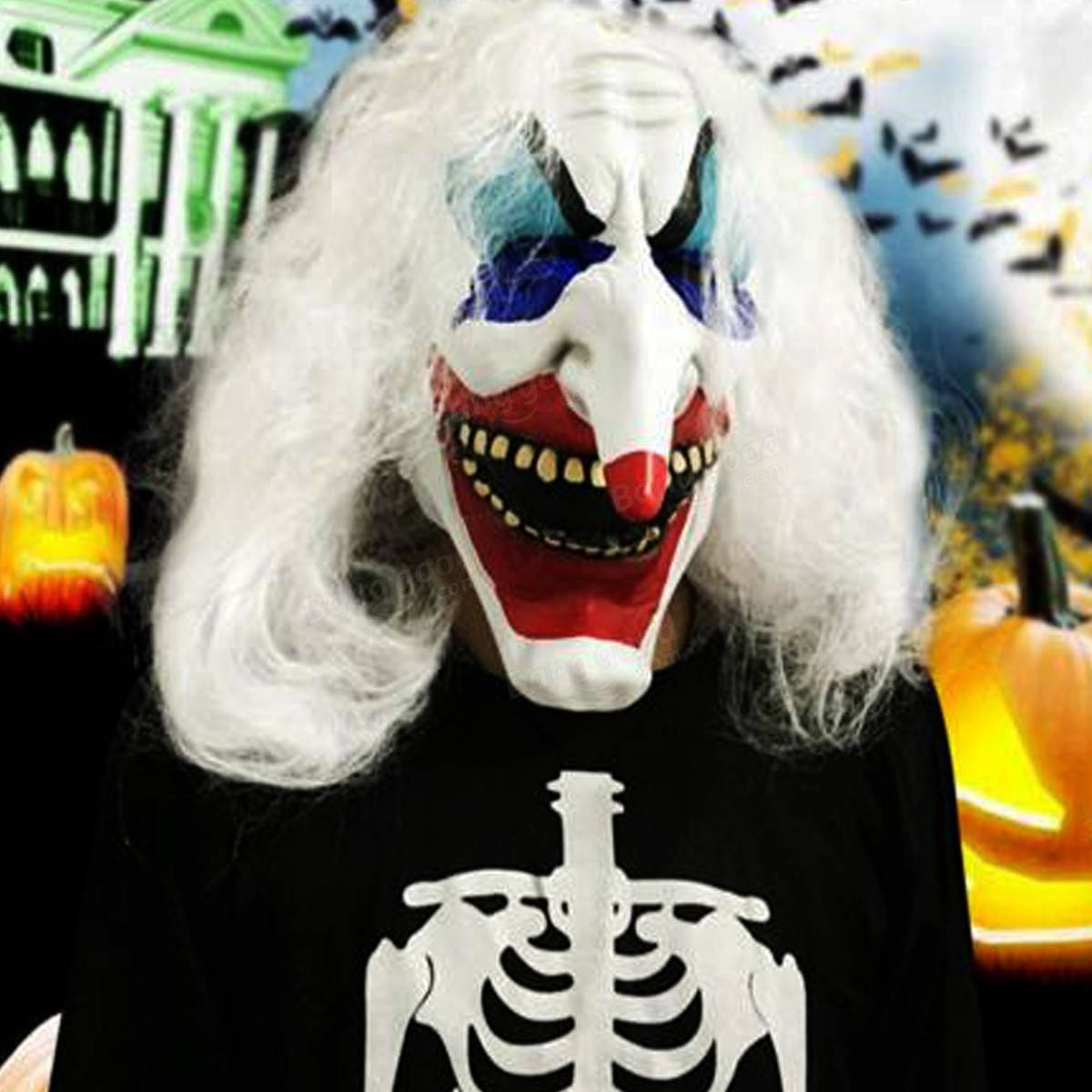 White Hair Clown Halloween Latex Mask Face Fancy Costume Party ...