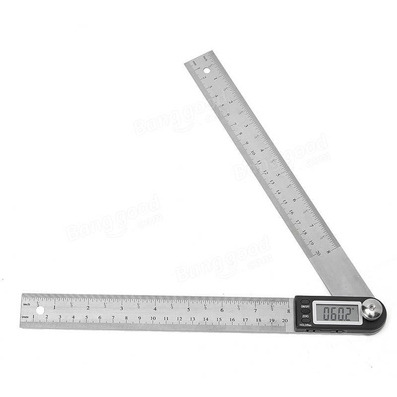 New 200mm Stainless Steel Electronic Ruler Scale Angle