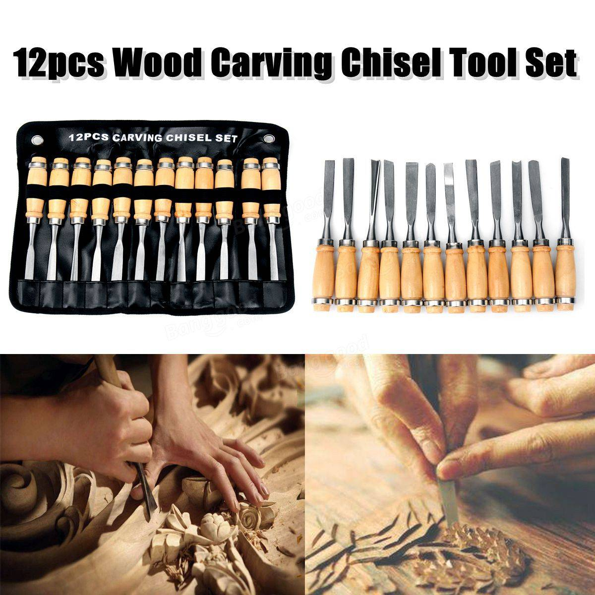 12pcs Wood Carving Hand Chisel Tool Set Professional Woodworking Gouges Steel