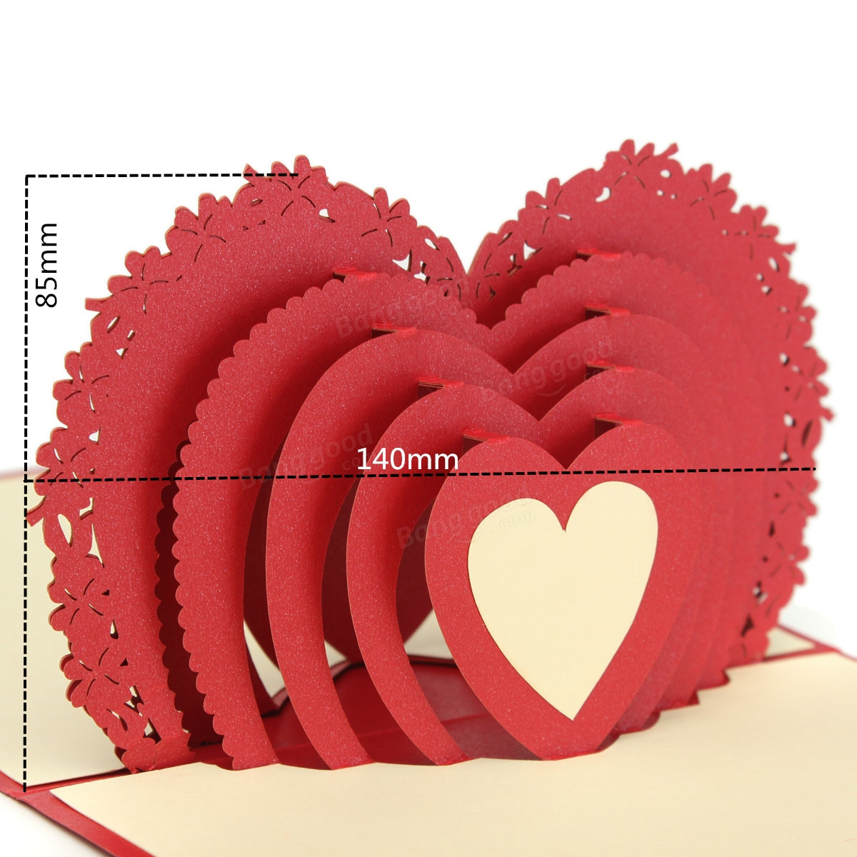 Red Heart 3D Pop Up Greeting Card Valentine Proposal Wedding Party – Hamster Valentine Cards