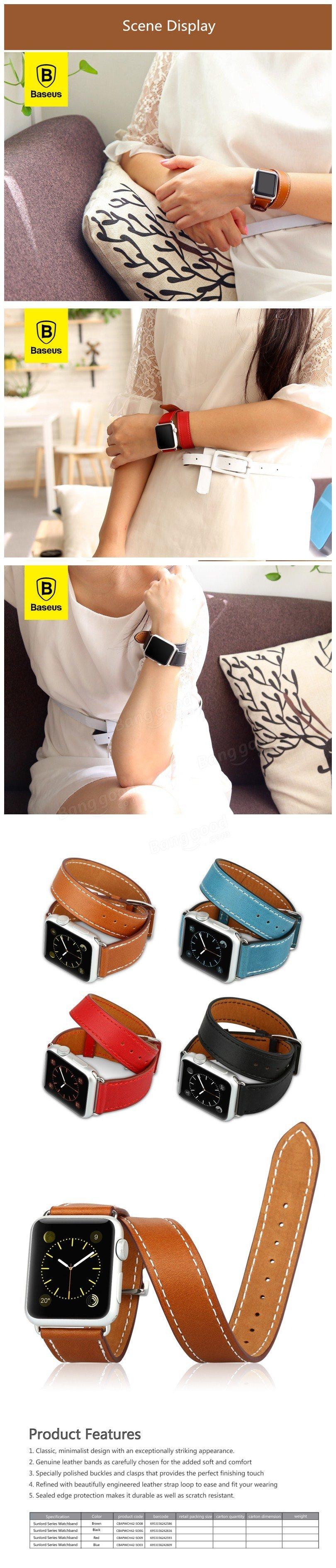 baseus sunlord series genuine leather watchband wrist band strap