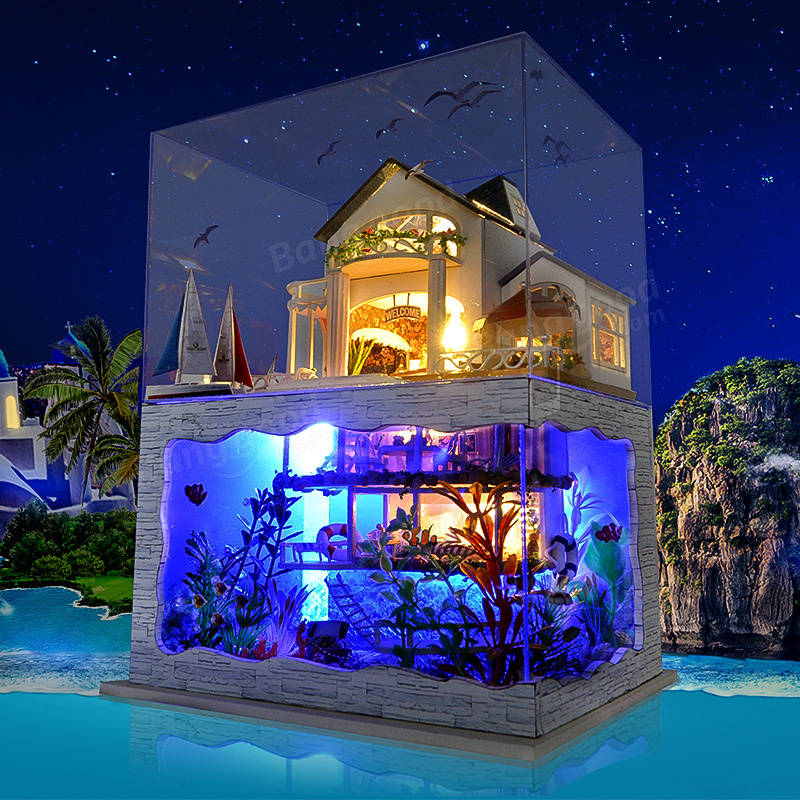 T-Yu Hawaii Villa DIY Dollhouse Miniature Model House With Light Cover Gift Decor Collection & T-Yu Hawaii Villa DIY Dollhouse Miniature Model House With Light ... azcodes.com