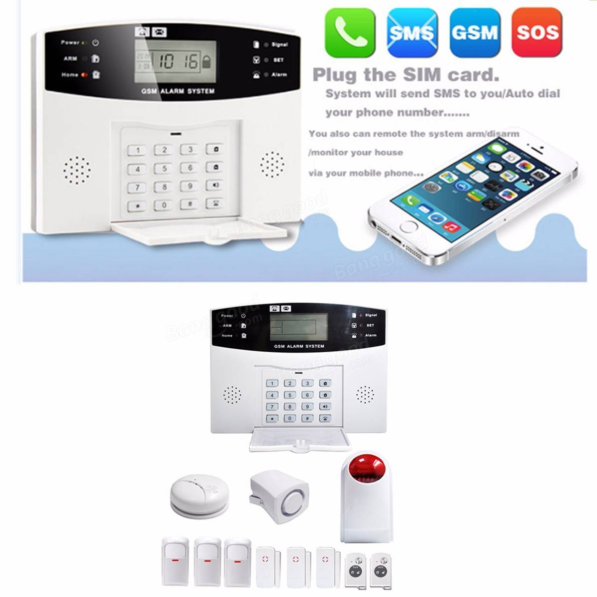 Wireless Lcd Gsm Sms Home Security Home Fire Alarm System