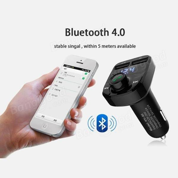 HY-82 Car Bluetooth Hands-Free FM Launcher Car MP3 Dual USB Car Charger