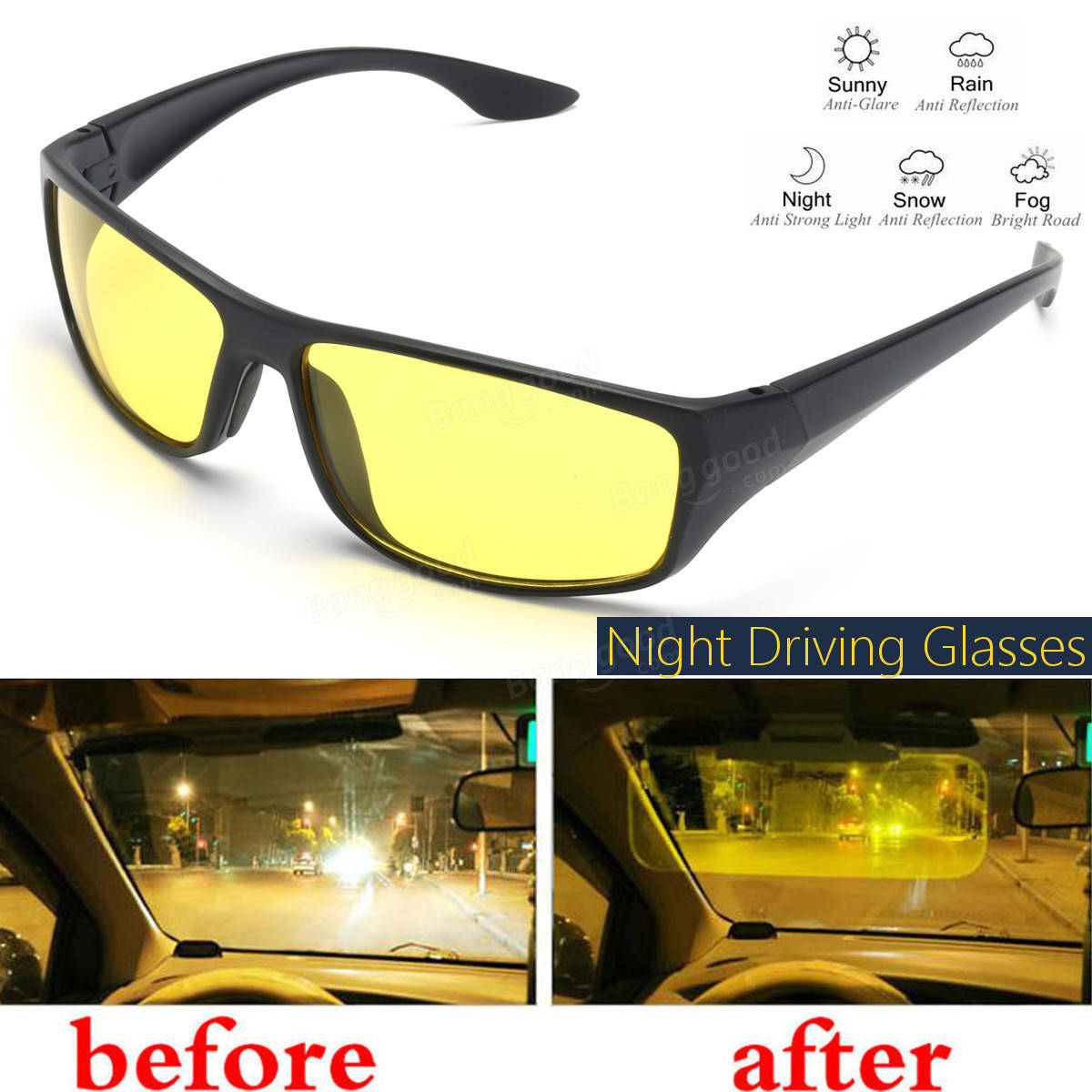 Image result for Anti-Glare Night Vision Glasses