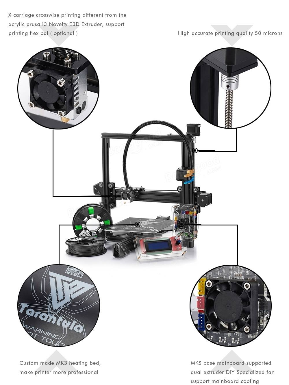 TEVO® Standard Tarantula Prusa I3 DIY 3D Printer Kit 200x200x200mm Printing Size 1.75mm 0.4mm Nozzle With 2x 0.25kg Filament