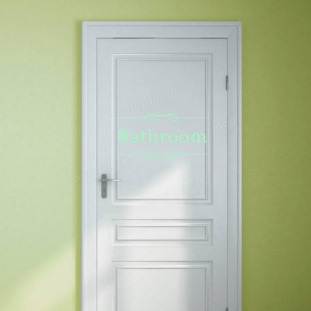 Luminous stickers toilet bathroom removable sticker for Bathroom door decor