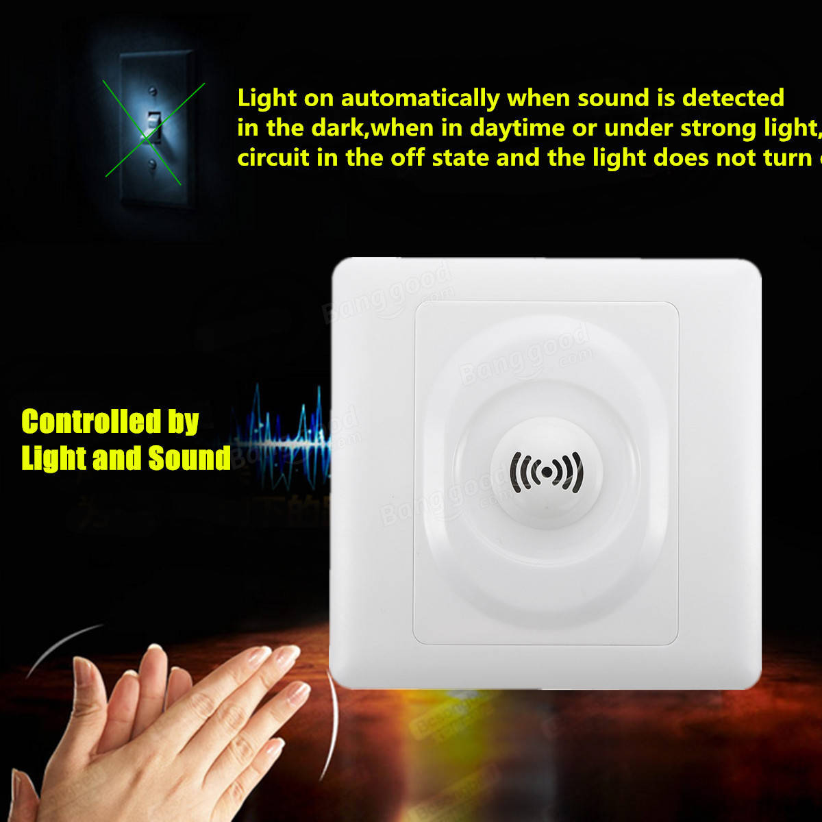 250V Wall Mount Voice Light Sensor Switch Sound & Light Controlled Delay Switch