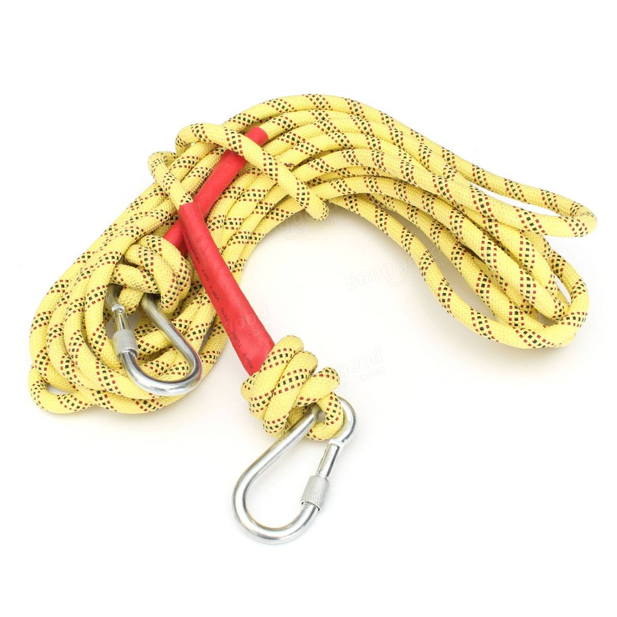 10M Rock Mountain Climbing Rope Outdoor Survival String Dynamic Paracord With Two Hooks
