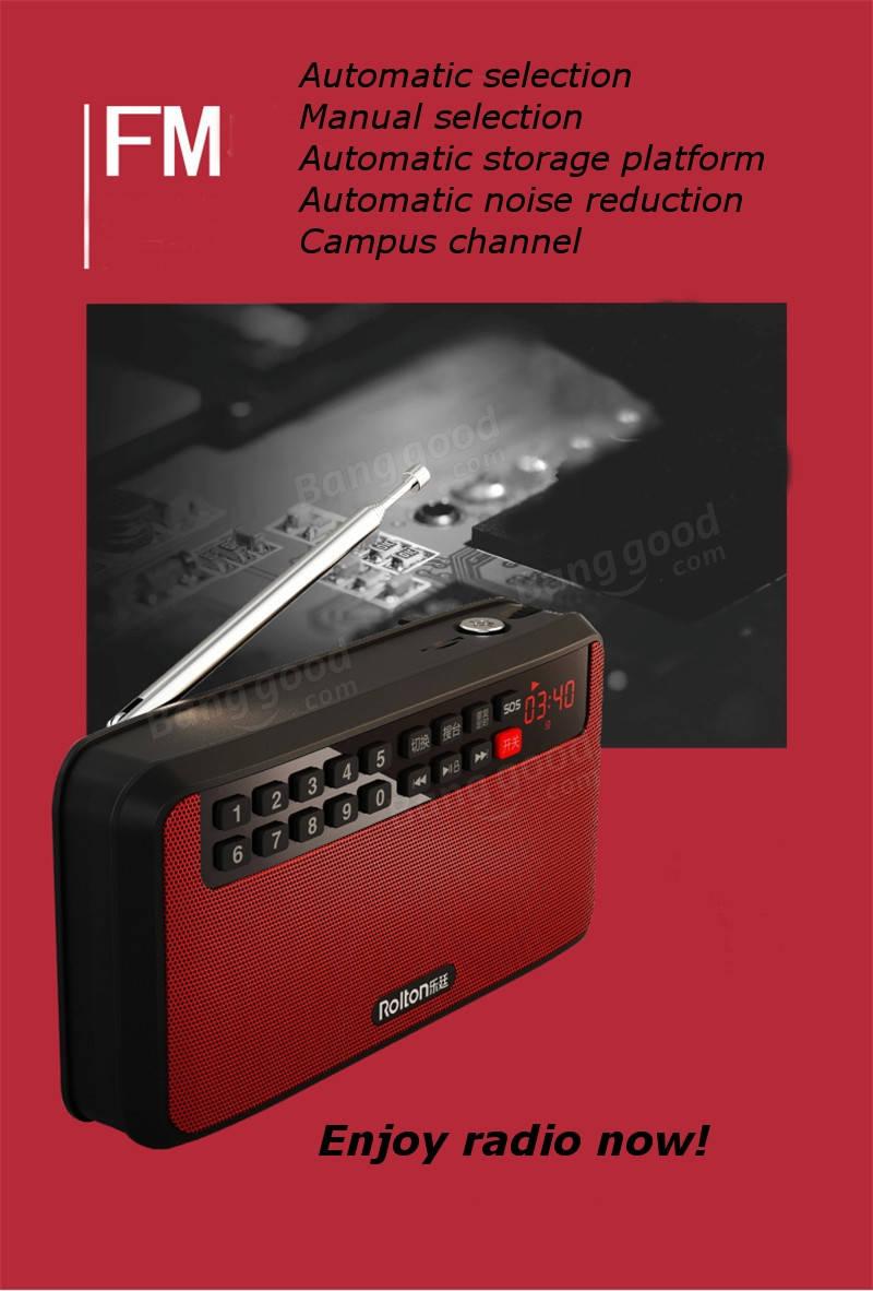 Rolton T60 Portable MP3 Stereo Player Loa âm thanh Đài FM Với màn hình LED Hỗ trợ TF Card Play