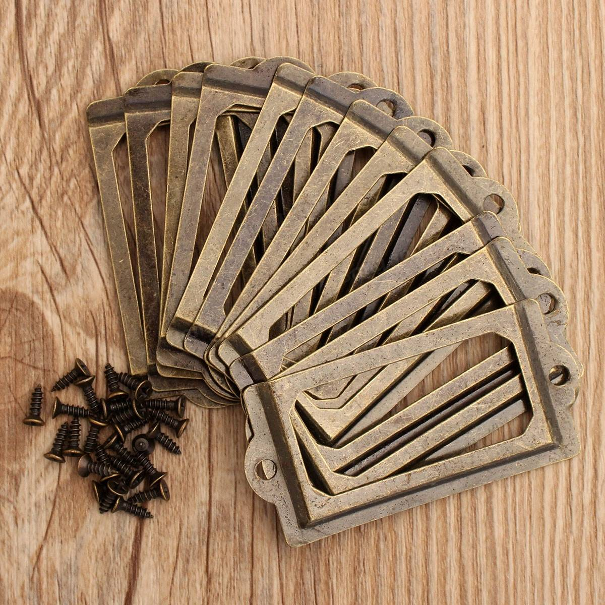 12Pcs Antique Brass Metal Label Pull Frame Handle File ...