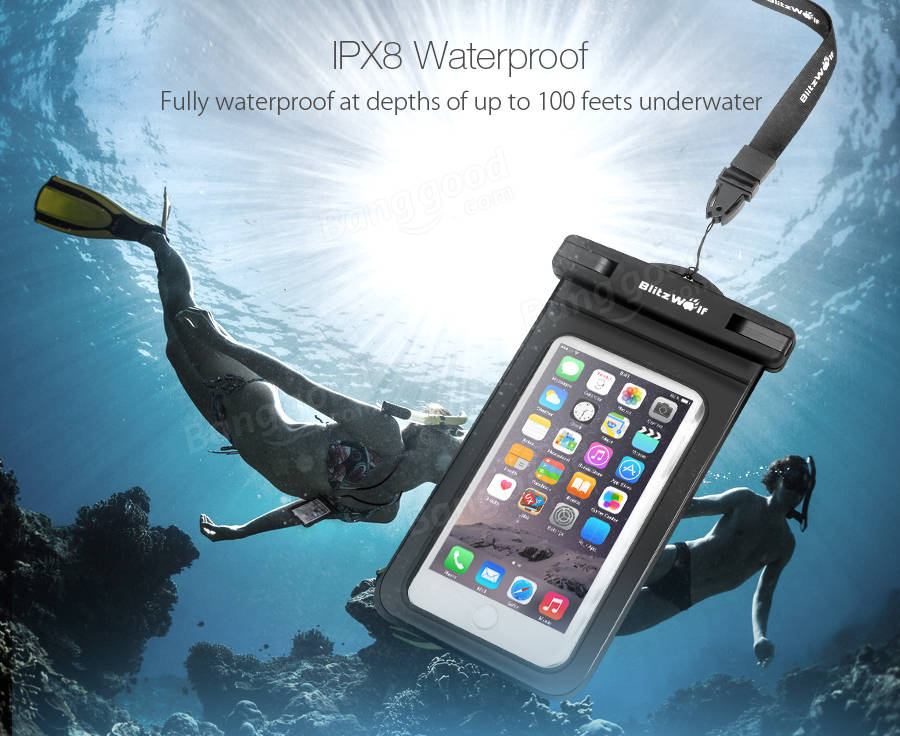 BlitzWolf® BW-WB1 Universal Touch Screen IPX8 Waterproof Case Dry Bag Waterproof Bag With Clip For iPhone 7/Plus,Samsung Galaxy S5/S4,LG,G3,HTC and GPS Device,Holds All Up To 6.0 Inch Smartphones