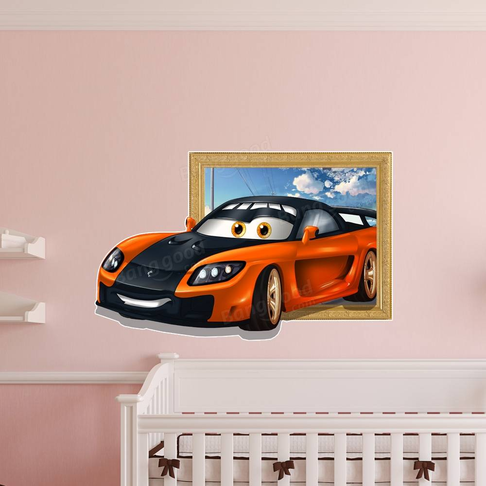 3d Kids Room Decoration Sports Car Wall Decals Boys Room