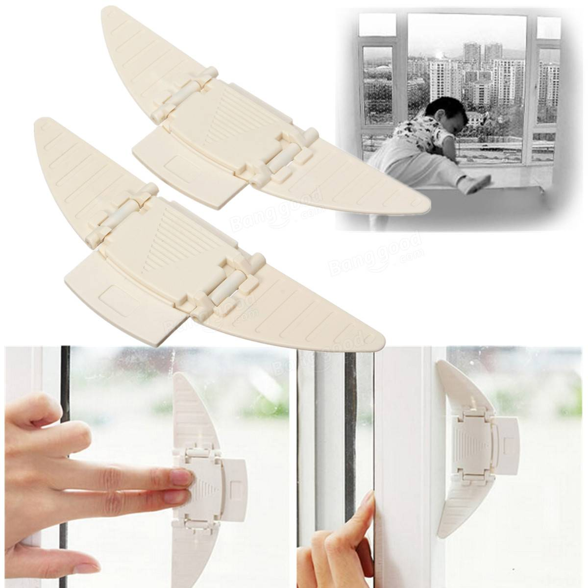 2pcs Child Safety Locks Windows Doors Lock Protector