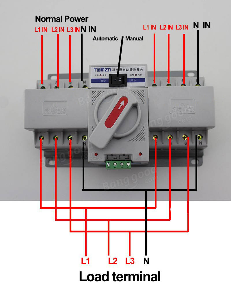 3 phase ats wiring diagram Images Gallery. 4p 63a 380v mcb type dual power  automatic transfer switch