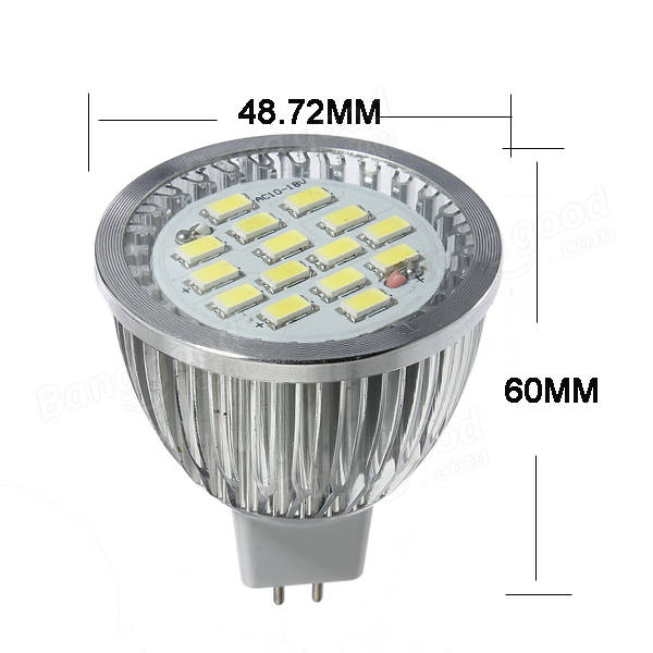 5X MR16 6.4W 480-530LM White SMD 5630 LED Spot Light Bulb 10V-18V AC