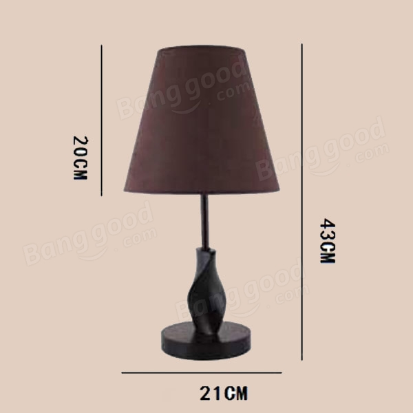 Minimalist Wooden Table Lamp Brown Fabric Shade Bedroom