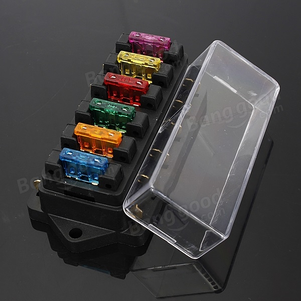 SKU136265 (2) car 6 way circuit 6 3mm terminals standard blade fuse box holder water in fuse box car at aneh.co