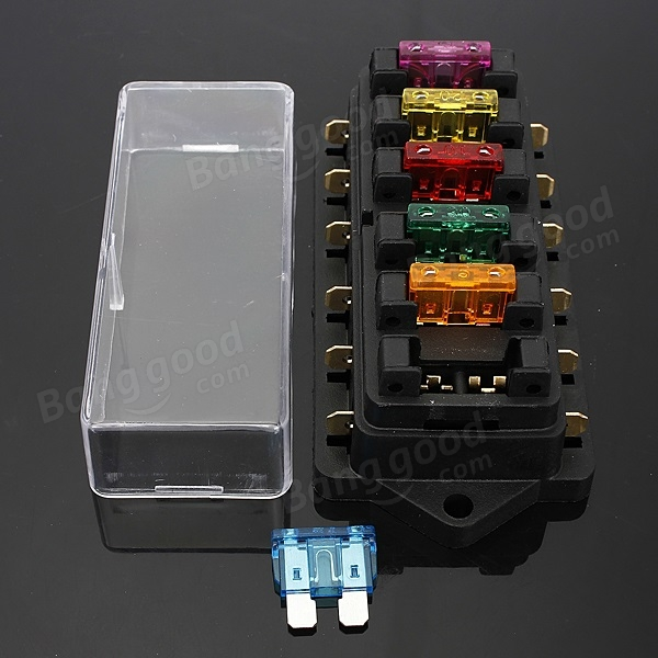 SKU136265 (6) car 6 way circuit 6 3mm terminals standard blade fuse box holder water in fuse box car at bakdesigns.co