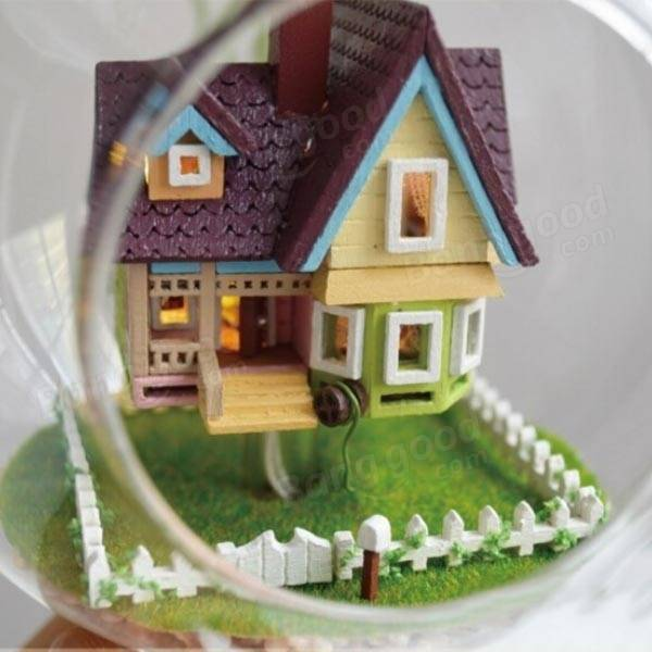 DIY House Flying House Glass Ball With Lamp Handmade ...