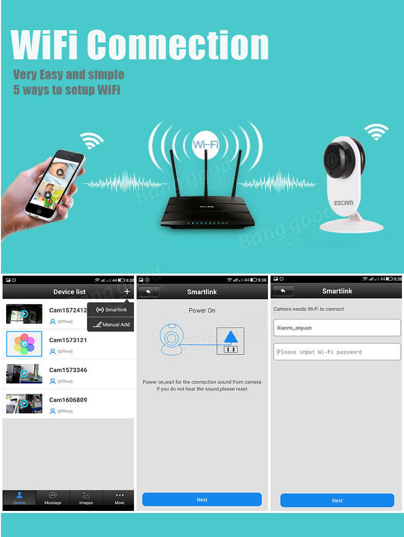 ESCAM Ant QF605 HD WIFI IR-Cut P2P Support IOS/Android ...